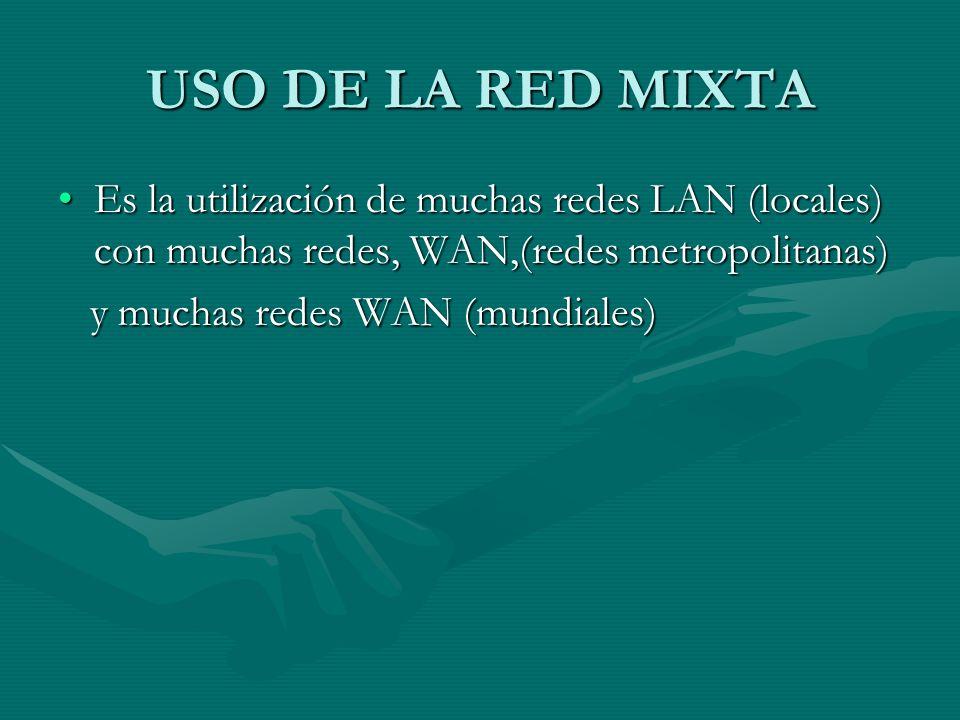 USO DE LA RED MIXTA Es la utilización de muchas redes LAN (locales) con muchas redes, WAN,(redes metropolitanas)Es la utilización de muchas redes LAN (locales) con muchas redes, WAN,(redes metropolitanas) y muchas redes WAN (mundiales) y muchas redes WAN (mundiales)