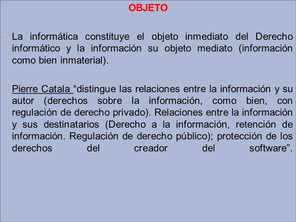 OBJETO La informática constituye el objeto inmediato del Derecho informático y la información su objeto mediato (información como bien inmaterial). Pi