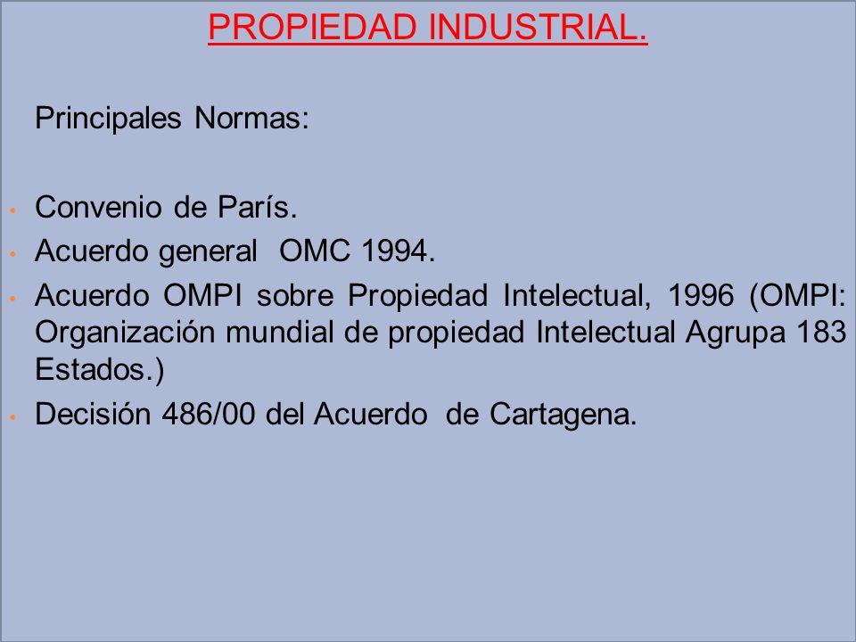 PROPIEDAD INDUSTRIAL. Principales Normas: Convenio de París. Acuerdo general OMC 1994. Acuerdo OMPI sobre Propiedad Intelectual, 1996 (OMPI: Organizac
