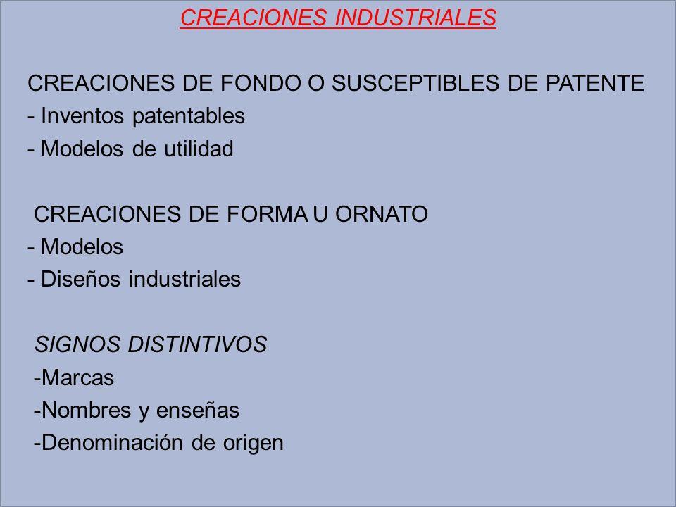 CREACIONES INDUSTRIALES CREACIONES DE FONDO O SUSCEPTIBLES DE PATENTE - Inventos patentables - Modelos de utilidad CREACIONES DE FORMA U ORNATO - Mode