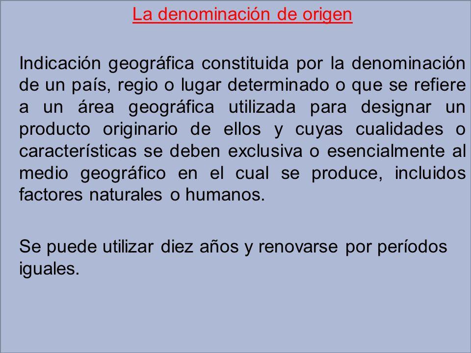 La denominación de origen Indicación geográfica constituida por la denominación de un país, regio o lugar determinado o que se refiere a un área geogr