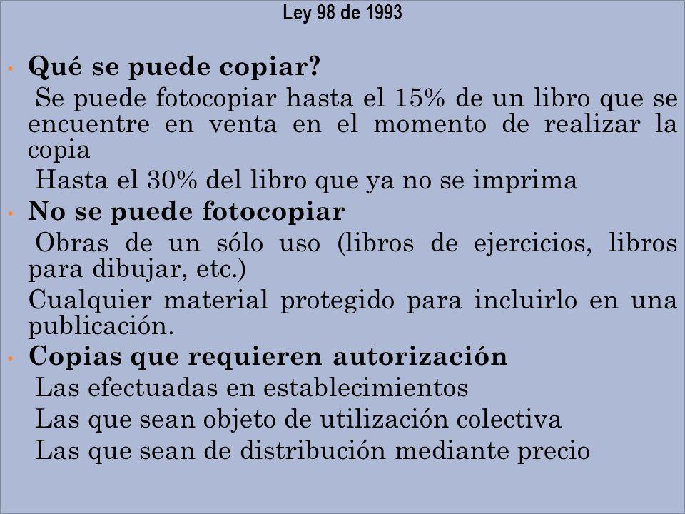 Ley 98 de 1993 Qué se puede copiar? Se puede fotocopiar hasta el 15% de un libro que se encuentre en venta en el momento de realizar la copia Hasta el