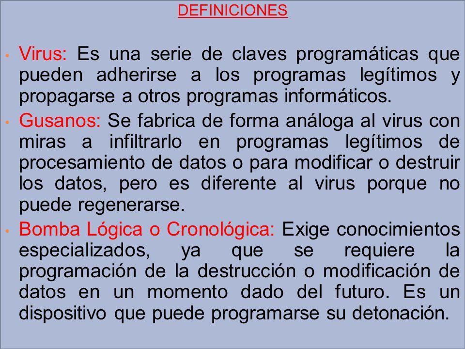 DEFINICIONES Virus: Es una serie de claves programáticas que pueden adherirse a los programas legítimos y propagarse a otros programas informáticos. G