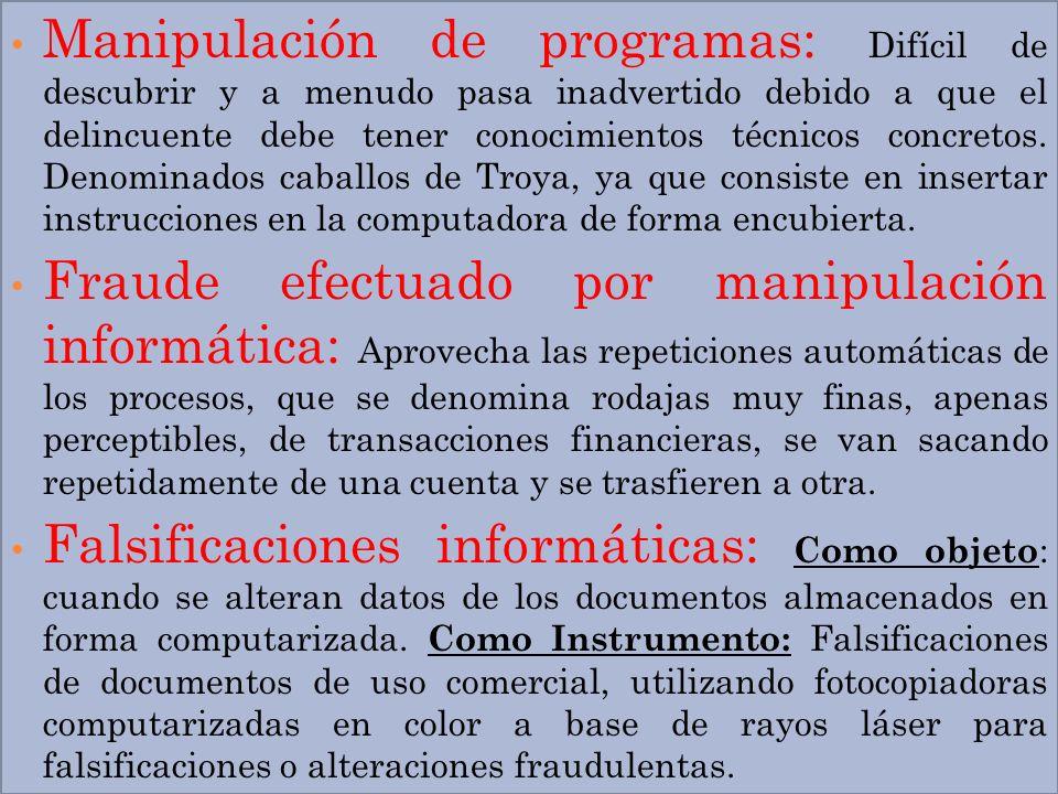 Manipulación de programas: Difícil de descubrir y a menudo pasa inadvertido debido a que el delincuente debe tener conocimientos técnicos concretos. D