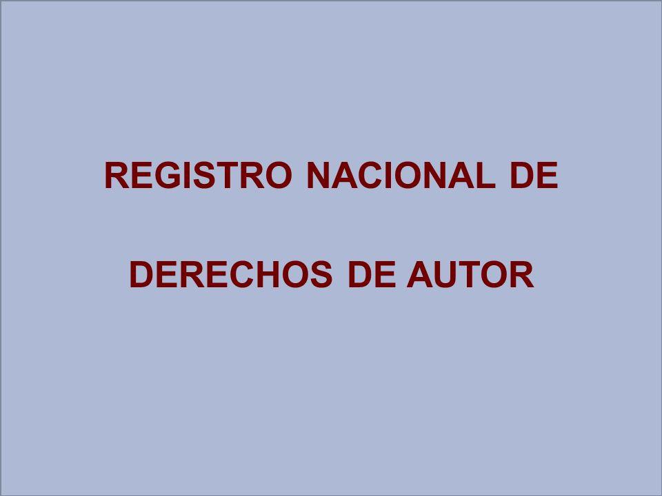 REGISTRO NACIONAL DE DERECHOS DE AUTOR