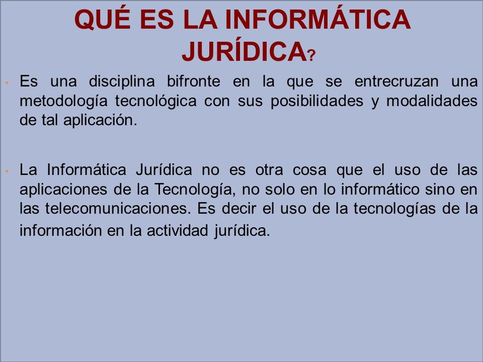 Nos referimos a la Informática Jurídica cuando el Jurista (Jueces, Secretarios, oficiales Mayores, Abogados en ejercicio de la Profesión, etc.) utilizan la tecnología informática como herramienta para procesar, automatizar y sistematizar la información JURIDICA, en tres niveles o fuentes.