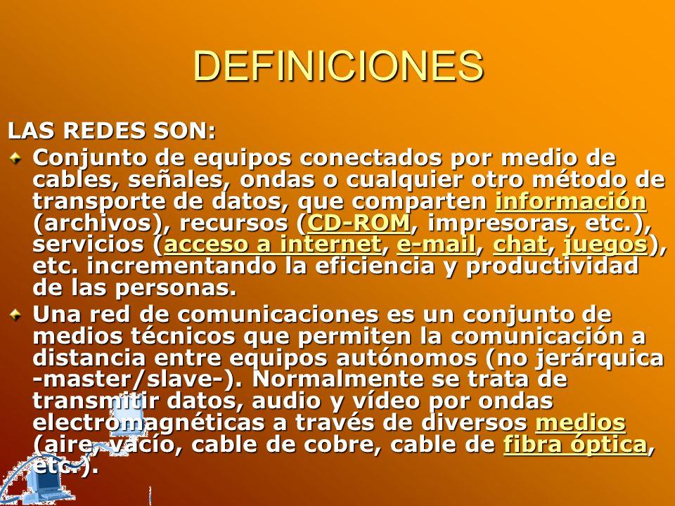 DEFINICIONES LAS REDES SON: Conjunto de equipos conectados por medio de cables, señales, ondas o cualquier otro método de transporte de datos, que com
