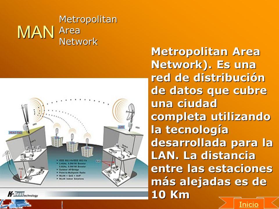 MAN Metropolitan Area Network). Es una red de distribución de datos que cubre una ciudad completa utilizando la tecnología desarrollada para la LAN. L