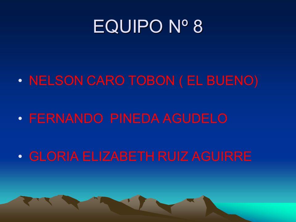 EQUIPO Nº 8 NELSON CARO TOBON ( EL BUENO) FERNANDO PINEDA AGUDELO GLORIA ELIZABETH RUIZ AGUIRRE