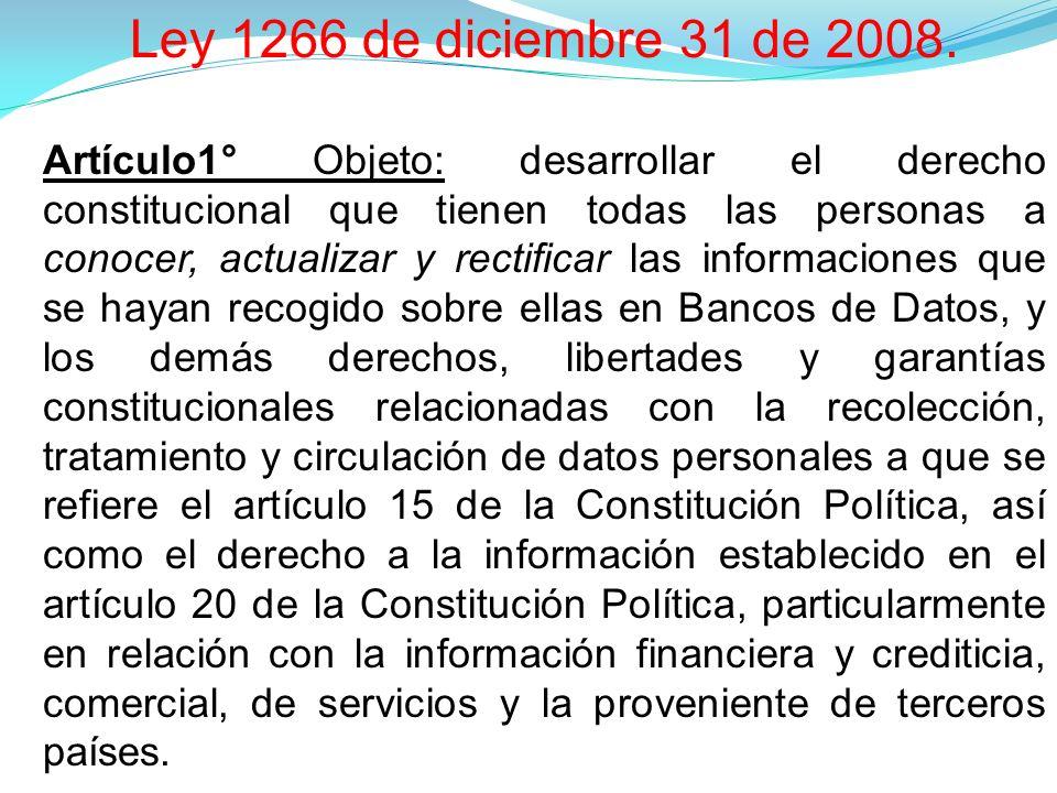 Ley 1266 de diciembre 31 de 2008.