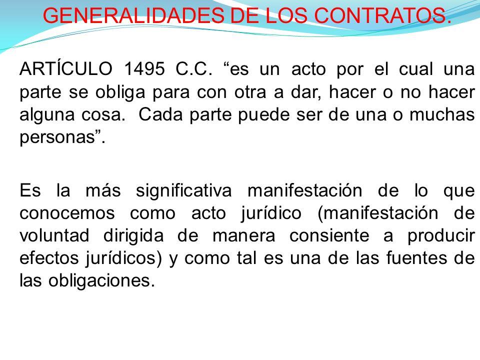 GENERALIDADES DE LOS CONTRATOS.ARTÍCULO 1495 C.C.