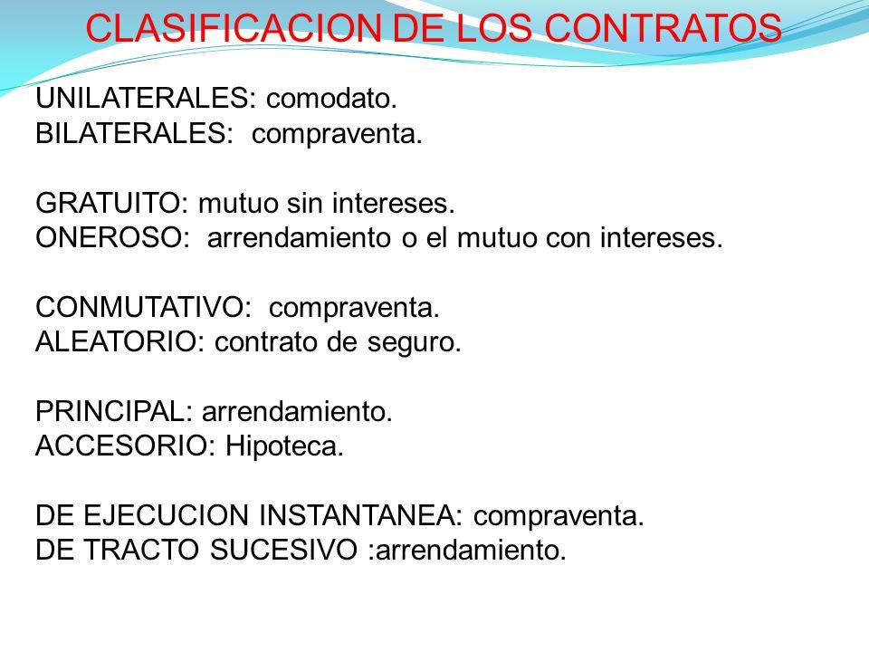 CLASIFICACION DE LOS CONTRATOS UNILATERALES: comodato.