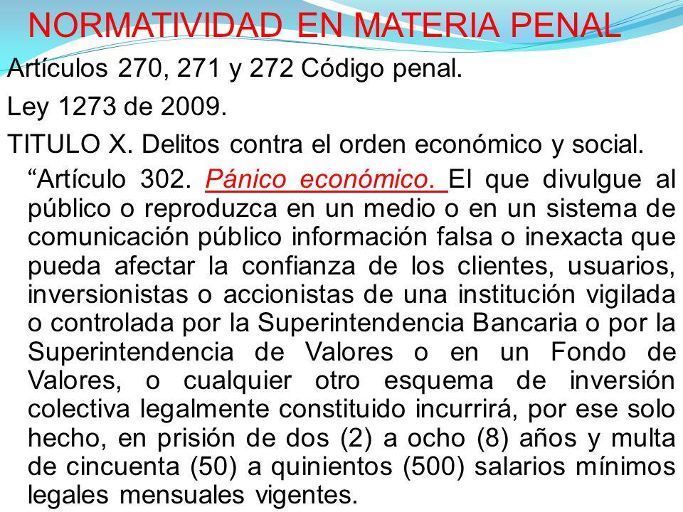 NORMATIVIDAD EN MATERIA PENAL Artículos 270, 271 y 272 Código penal.