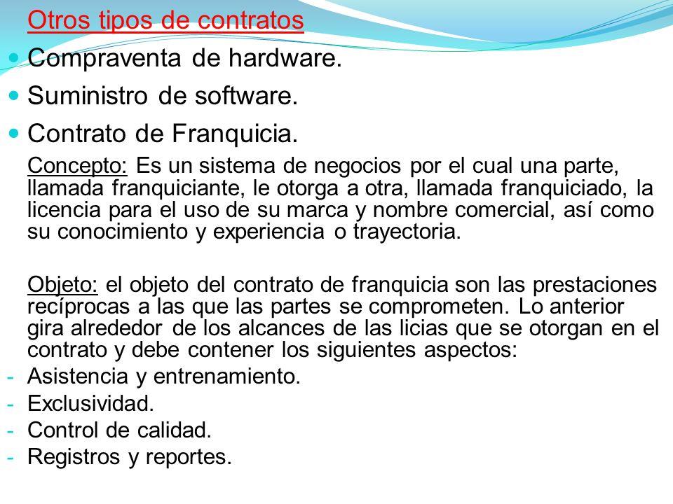 Otros tipos de contratos Compraventa de hardware.Suministro de software.