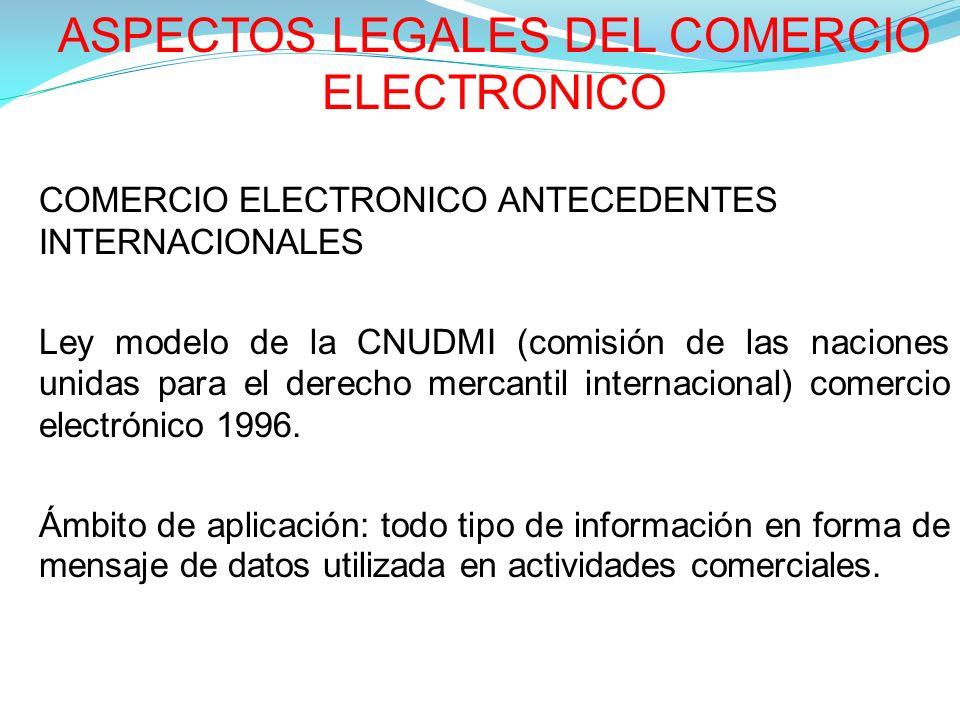 ASPECTOS LEGALES DEL COMERCIO ELECTRONICO COMERCIO ELECTRONICO ANTECEDENTES INTERNACIONALES Ley modelo de la CNUDMI (comisión de las naciones unidas para el derecho mercantil internacional) comercio electrónico 1996.