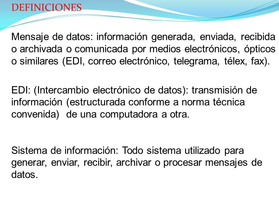 DEFINICIONES Mensaje de datos: información generada, enviada, recibida o archivada o comunicada por medios electrónicos, ópticos o similares (EDI, correo electrónico, telegrama, télex, fax).