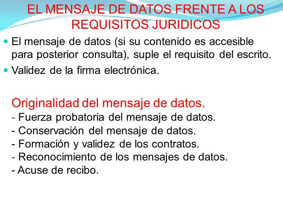 EL MENSAJE DE DATOS FRENTE A LOS REQUISITOS JURIDICOS El mensaje de datos (si su contenido es accesible para posterior consulta), suple el requisito del escrito.