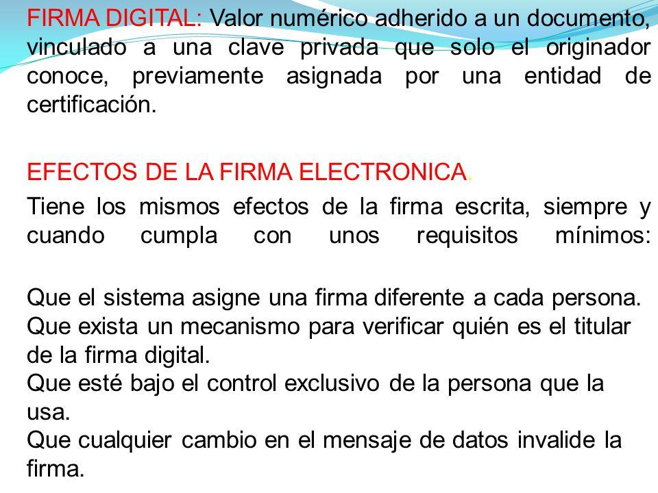 FIRMA DIGITAL: Valor numérico adherido a un documento, vinculado a una clave privada que solo el originador conoce, previamente asignada por una entidad de certificación.