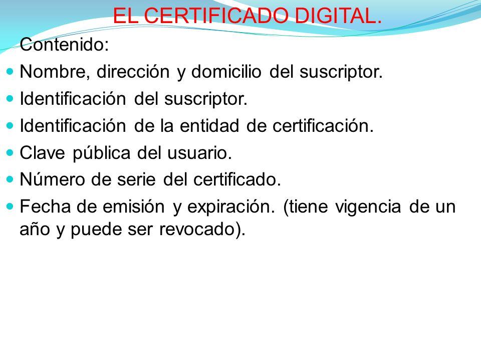 EL CERTIFICADO DIGITAL.Contenido: Nombre, dirección y domicilio del suscriptor.