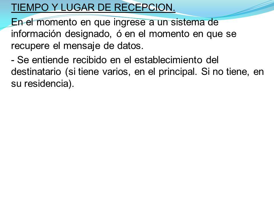TIEMPO Y LUGAR DE RECEPCION.