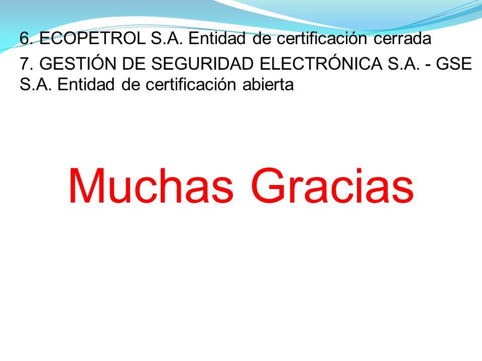 6.ECOPETROL S.A. Entidad de certificación cerrada 7.
