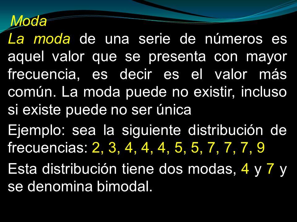 La moda de una serie de números es aquel valor que se presenta con mayor frecuencia, es decir es el valor más común. La moda puede no existir, incluso