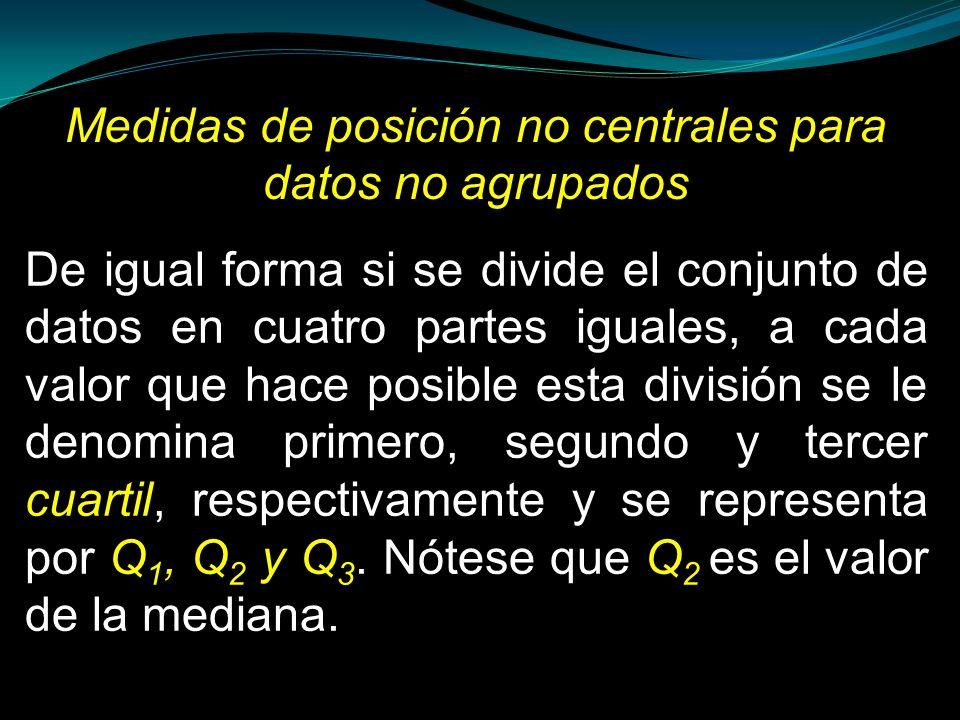 Medidas de posición no centrales para datos no agrupados De igual forma si se divide el conjunto de datos en cuatro partes iguales, a cada valor que h