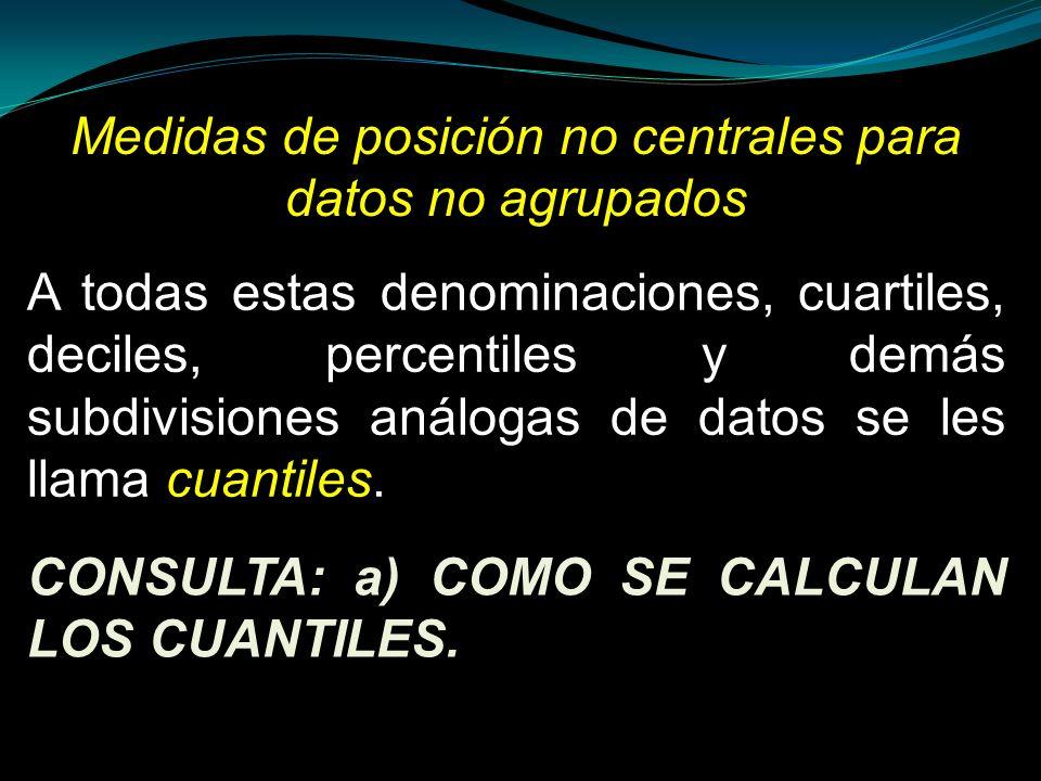 Medidas de posición no centrales para datos no agrupados A todas estas denominaciones, cuartiles, deciles, percentiles y demás subdivisiones análogas