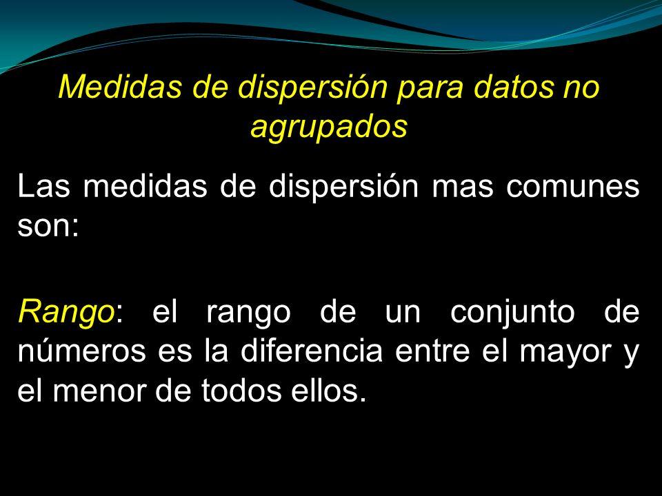 Medidas de dispersión para datos no agrupados Las medidas de dispersión mas comunes son: Rango: el rango de un conjunto de números es la diferencia en