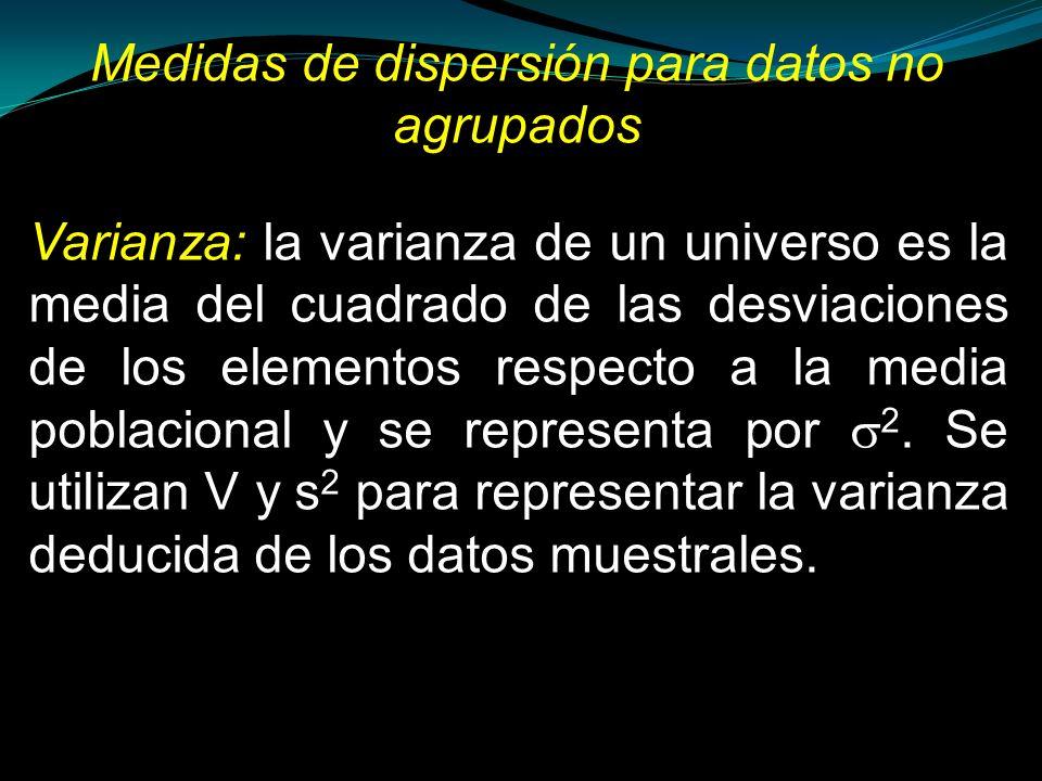 Medidas de dispersión para datos no agrupados Varianza: la varianza de un universo es la media del cuadrado de las desviaciones de los elementos respe
