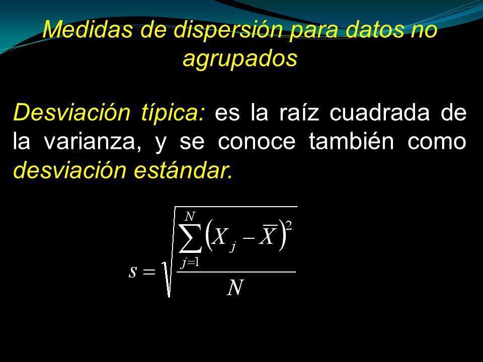 Desviación típica: es la raíz cuadrada de la varianza, y se conoce también como desviación estándar. Medidas de dispersión para datos no agrupados