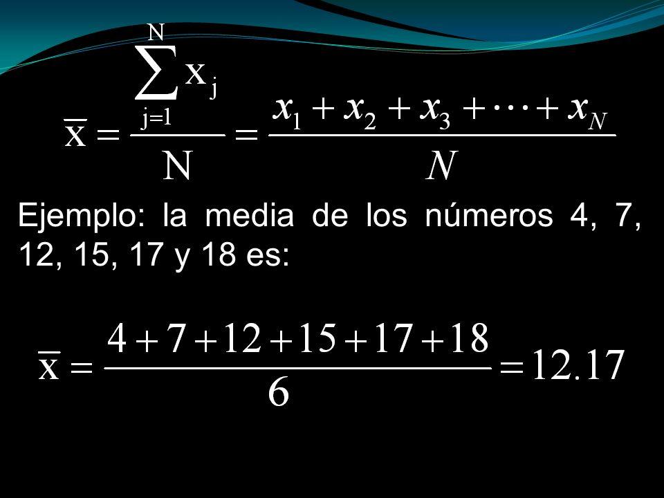 Ejemplo: la media de los números 4, 7, 12, 15, 17 y 18 es: