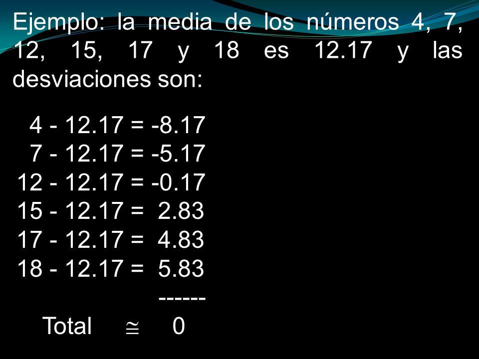Desviación típica: es la raíz cuadrada de la varianza, y se conoce también como desviación estándar.