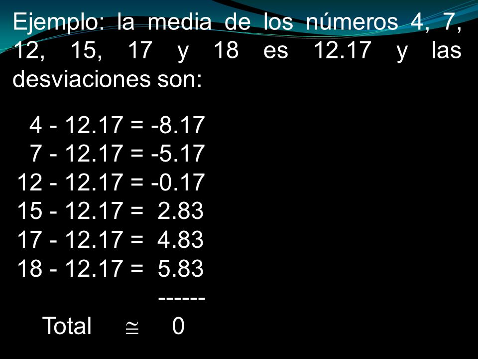 4 - 12.17 = -8.17 7 - 12.17 = -5.17 12 - 12.17 = -0.17 15 - 12.17 = 2.83 17 - 12.17 = 4.83 18 - 12.17 = 5.83 ------ Total 0