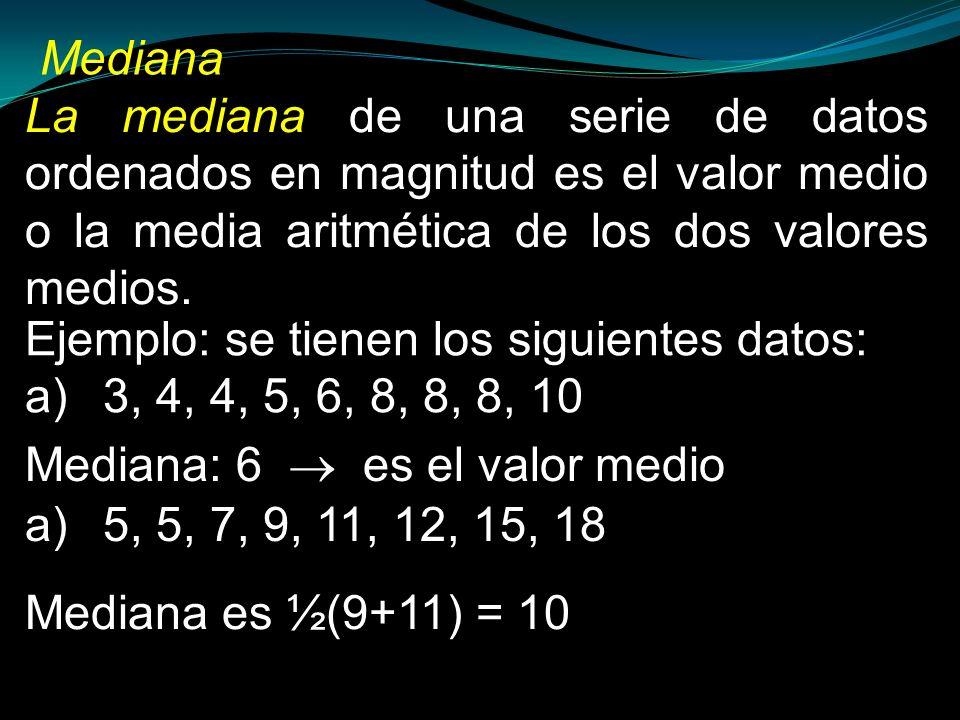 La mediana de una serie de datos ordenados en magnitud es el valor medio o la media aritmética de los dos valores medios. Ejemplo: se tienen los sigui