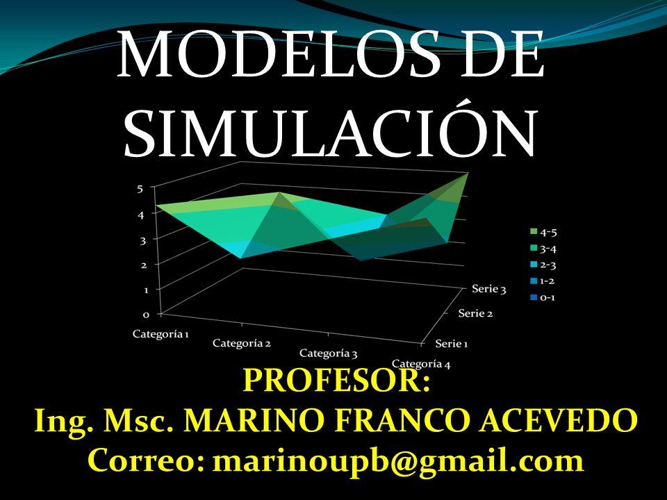 MODELOS DE SIMULACIÓN PROFESOR: Ing. Msc. MARINO FRANCO ACEVEDO Correo: marinoupb@gmail.com
