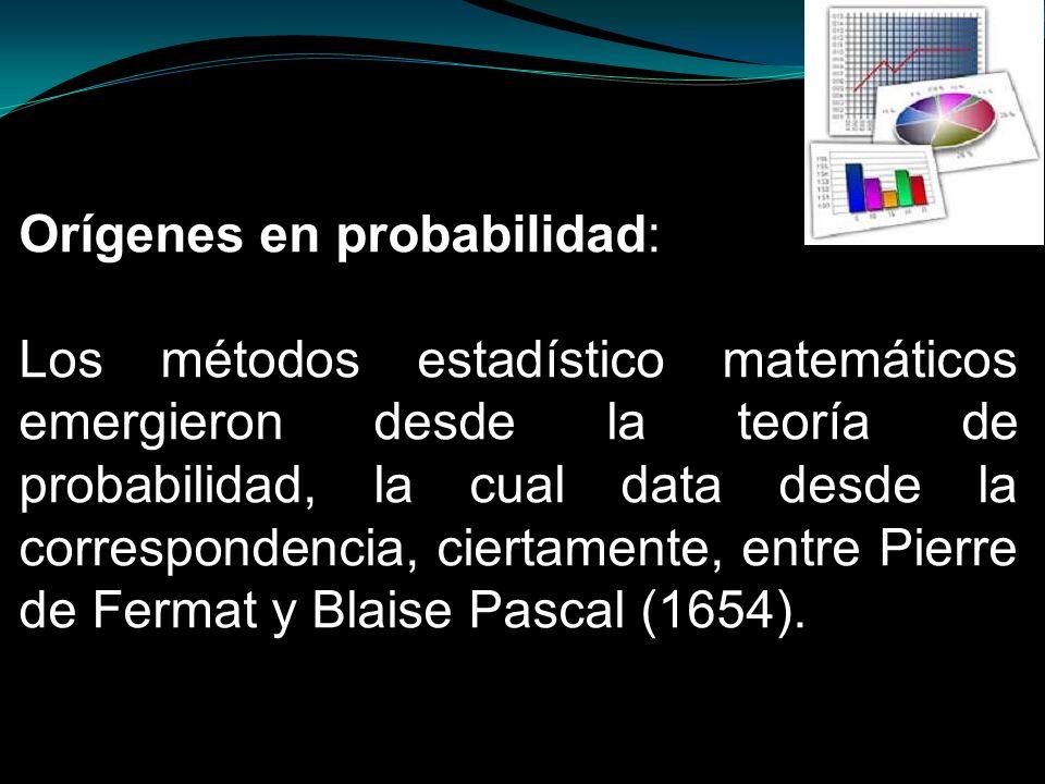 Orígenes en probabilidad: Los métodos estadístico matemáticos emergieron desde la teoría de probabilidad, la cual data desde la correspondencia, ciert