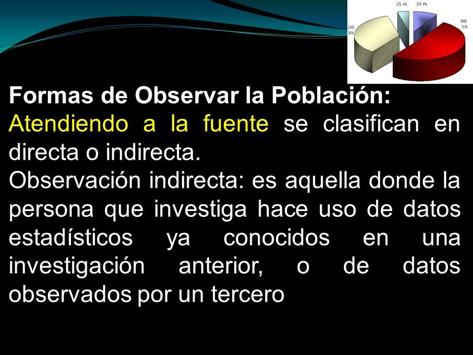 Formas de Observar la Población: Atendiendo a la fuente se clasifican en directa o indirecta. Observación indirecta: es aquella donde la persona que i
