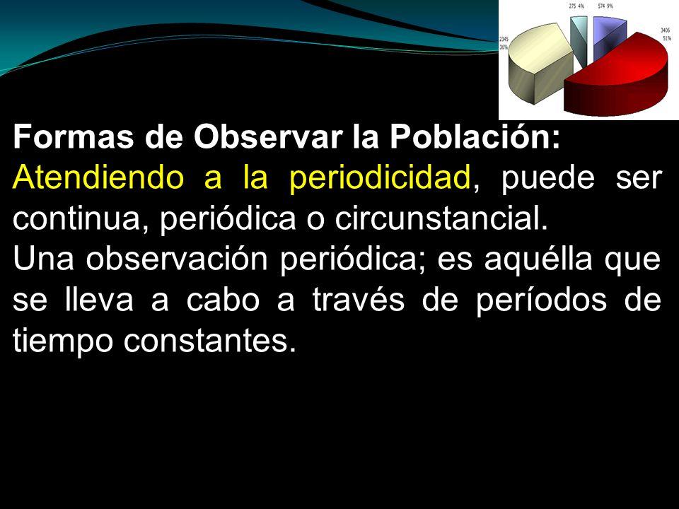 Formas de Observar la Población: Atendiendo a la periodicidad, puede ser continua, periódica o circunstancial. Una observación periódica; es aquélla q