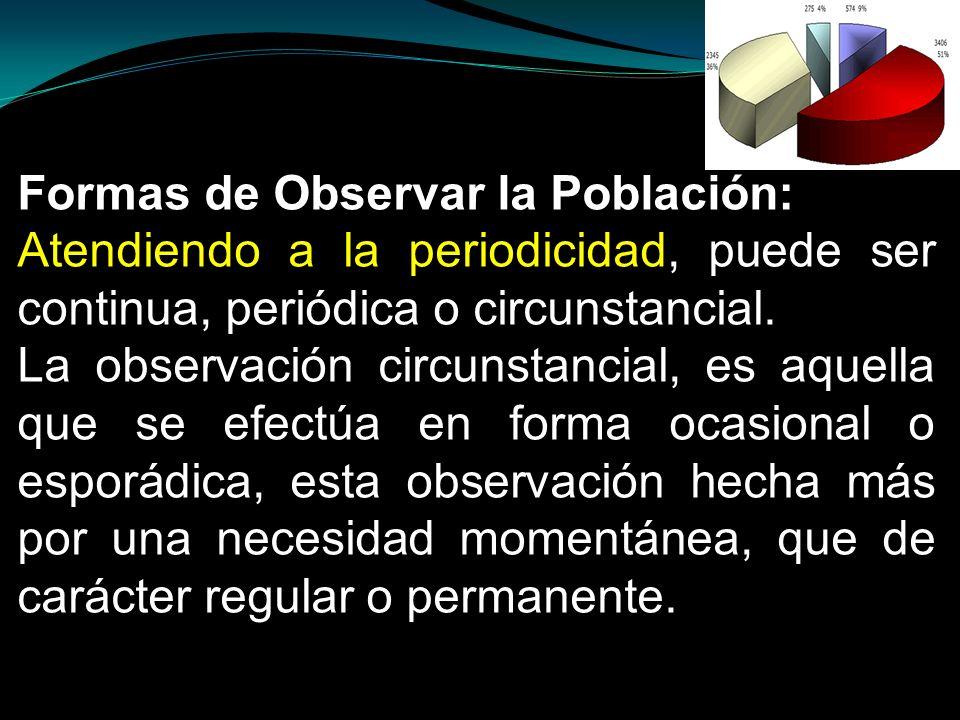 Formas de Observar la Población: Atendiendo a la periodicidad, puede ser continua, periódica o circunstancial. La observación circunstancial, es aquel