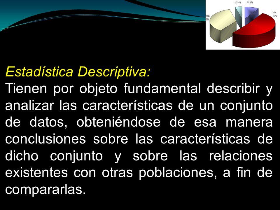 Estadística Descriptiva: Tienen por objeto fundamental describir y analizar las características de un conjunto de datos, obteniéndose de esa manera co
