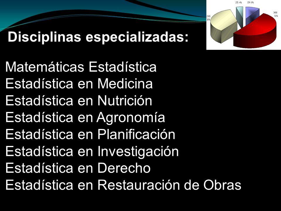Matemáticas Estadística Estadística en Medicina Estadística en Nutrición Estadística en Agronomía Estadística en Planificación Estadística en Investig