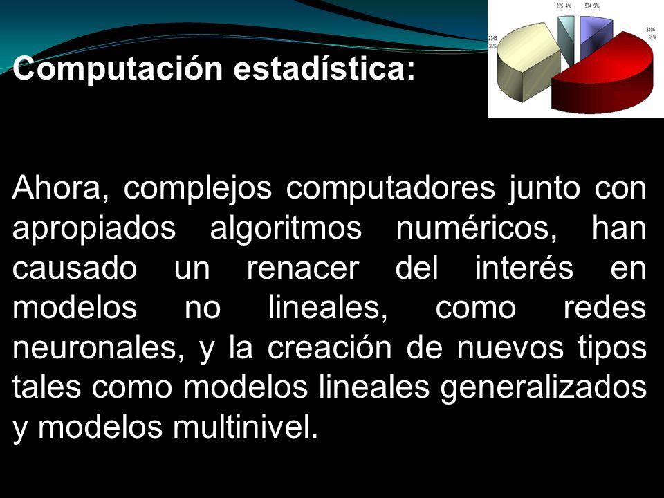 Computación estadística: Ahora, complejos computadores junto con apropiados algoritmos numéricos, han causado un renacer del interés en modelos no lin