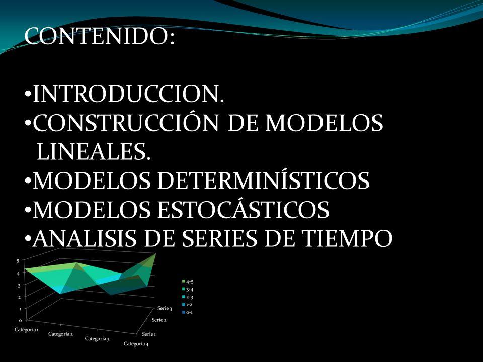 CONTENIDO: INTRODUCCION. CONSTRUCCIÓN DE MODELOS LINEALES. MODELOS DETERMINÍSTICOS MODELOS ESTOCÁSTICOS ANALISIS DE SERIES DE TIEMPO
