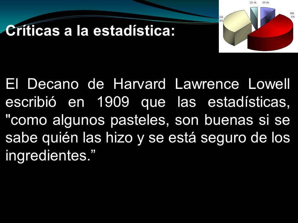 Críticas a la estadística: El Decano de Harvard Lawrence Lowell escribió en 1909 que las estadísticas,