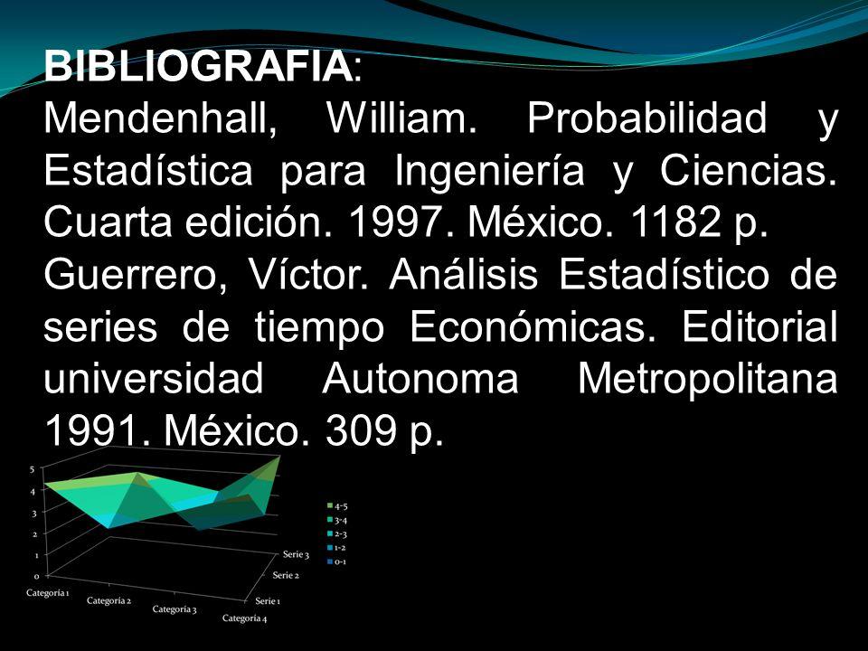 BIBLIOGRAFIA: Mendenhall, William. Probabilidad y Estadística para Ingeniería y Ciencias. Cuarta edición. 1997. México. 1182 p. Guerrero, Víctor. Anál