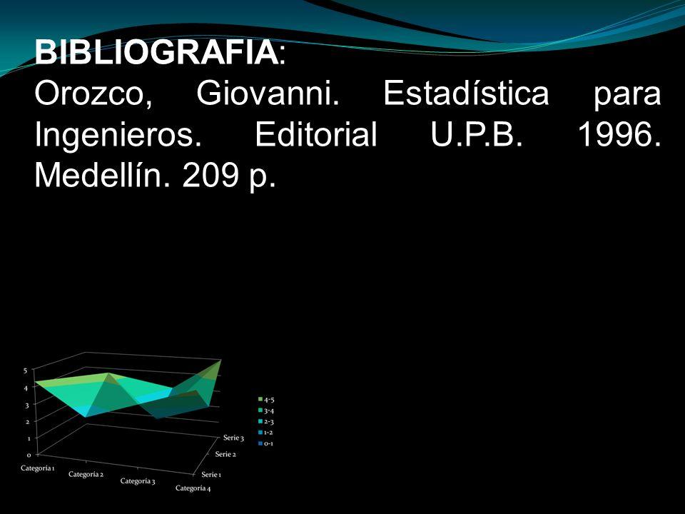 BIBLIOGRAFIA: Orozco, Giovanni. Estadística para Ingenieros. Editorial U.P.B. 1996. Medellín. 209 p.