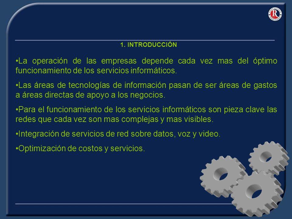 1. INTRODUCCIÓN La operación de las empresas depende cada vez mas del óptimo funcionamiento de los servicios informáticos. Las áreas de tecnologías de