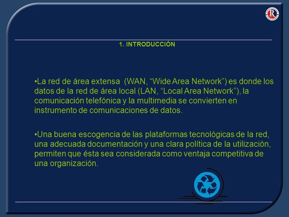 1. INTRODUCCIÓN La red de área extensa (WAN, Wide Area Network) es donde los datos de la red de área local (LAN, Local Area Network), la comunicación