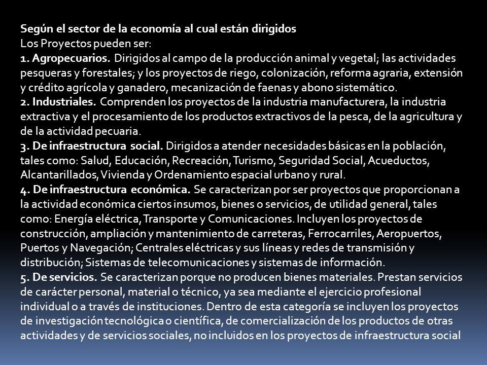 Se presenta la siguiente clasificación: 1.Proyectos de Producción de Bienes.